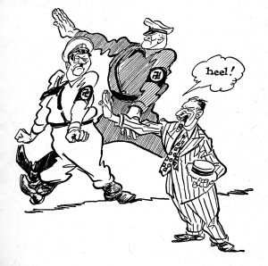 Adolph Hitler and Nazi marching in cartoon illustration by Willard Mullin
